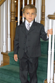 Black Suit-This high quality five piece Communion suits is an incredible buy!  Set includes jacket, pants, vest, dress shirt and adjustable tie. Regular and Husky Sizes available