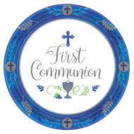 """First Communion Paper Plates. 18 Count Plates are decorated with  Cross & Blessed Sacrament. Available in Pink or Blue 10-1/2"""" Diameter"""