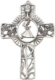 "Praying Girl-5"" Tall Antique Pewter Finish Communion Cross with girl praying figure in center of cross.  Gift Boxed."