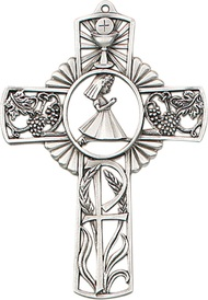 "Praying Girl-5"" Tall Antique Pewter Finish Communion Cross with girl praying figure in center of cross.  Gift Boxed.  Ready to hang"