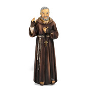 "4"" St. Padre Pio statue is hand painted and is made of a solid resin. Statue has gold leaf trim accents and Italian gold stamped prayer card. Boxed"
