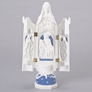 """Della Robia Pieta Triptych. This beautiful Della Robia Pieta Table Top Triptych  is a great reminder of what Easter is really all about. The Della Robia Pieta Triptych stands 12.2"""" tall and has a width and depth of 3.15"""". A gorgeous decoration for your Easter Celebration!"""