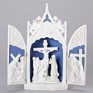 "14"" Della Robia Crucifixion Triptych. Beautiful table top reminder of what Easter is really all about."