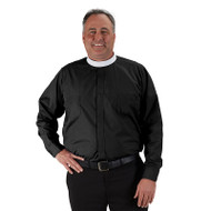 """Toomey™ Big & Tall neckband shirts are larger in the chest & waist with a longer back length than our standard shirts. Full cut with 2 breast pockets, stitched fly front, and combination cuff for buttons or cuff links. Please specify size and color when ordering.  Collar sizes 17-20 & 22. Sleeve lengths 32-33"""" L, 34-35""""L, 36-27""""L.  Color:  Black"""