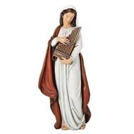 "6""H St Cecelia resin/sstone mix statue."