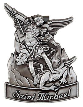 "St. Michael Protect Us 2""H x 1.25""D  Pewter Visor Clip"