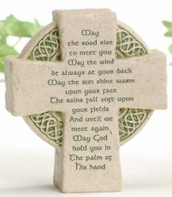 "Celtic Faithstone with Irish Blessing. Dimensions: 3.5""H x 3""W x 1.25""D. Resin/Stone Mix"