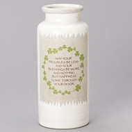 """Celtic Vase with Wreath and Irish Blessing. Dimensions: 11.5""""H. Resin/Stone Mix"""