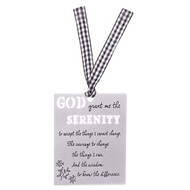 "3.25""H  Serenity Prayer Laser Cut Aluminum Bookmark with checkered ribbon."
