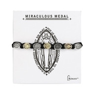 "Gold/Silver Miraculous Medal 7"" adjustable slide knotted bracelet"