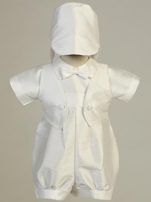Poly Bengaline Romper with hat. Sizes: 0-3, 3-6m, 6-12m, or 12-18m. Made in the USA!