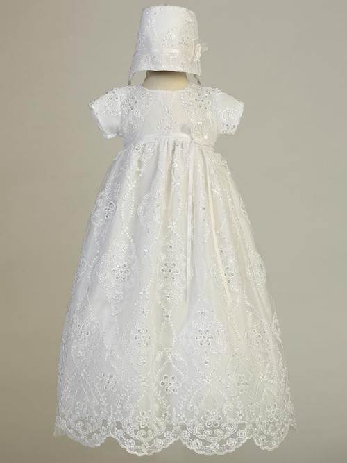 Bonnie Christening Gown. Long gown with embroidered tulle and sequins.  Made in USA