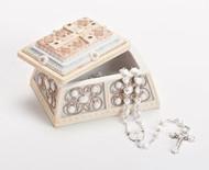 """2.5""""H x 4""""L x 3""""D Rosary/Trinket box."""