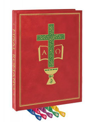 Image of a red clothbound Roman Missal that features a green cross with gold filigree details, the symbols for Alpha and Omega, as well as five markers in blue, pink, purple, green, and yellow.