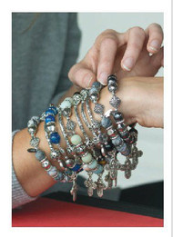 Crafted of lead-free metal with rhodium/silver finish, natural stones, crystals and faux pearls. Various colors.