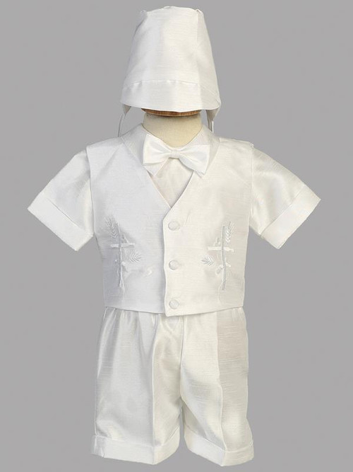 Shantung with embroidered cross on vest and short. Sizes XS  (3-6 mos), S (6-9 mos), M 9-12 mos), L (12-18 mos), XL (18-24 mos), 2T, & 3T.