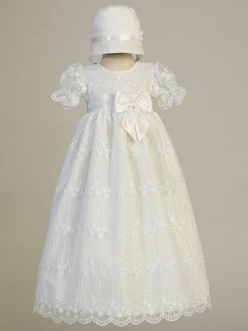 Camila Christening Gown is made of embroidered tulle with bow on waist. Comes with the bonnet.  Made In USA