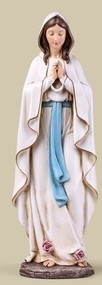 """Our Lady of Lourdes 14"""" Statue. Resin/Stone Mix. Dimensions: 13.5""""H x 4.5""""W x 3.5""""D."""
