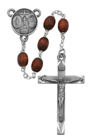 6 X 8mm Brown Wood Oval Rosary. Sterling Silver Center and Crucifix. Deluxe Gift Box Included