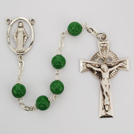 Green Glass beads. Sterling Silver crucifix and center.