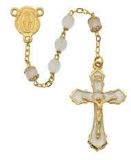 7mm frosted beads with gold plated enameled pewter crucifix and gold plated pewter center