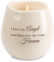"Ceramic vessel holds 8 ounces of 100% soy wax candle. Tranquility Scent. Measures 2.5L x 2.5W x 3.5H x 2.5D ""I have an Angel watching over me from Heaven"""