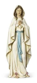 """Our Lady of Lourdes 24""""Statue. Resin/Stone Mix. Dimensions: 24""""H x 8.5""""W x 6""""D"""