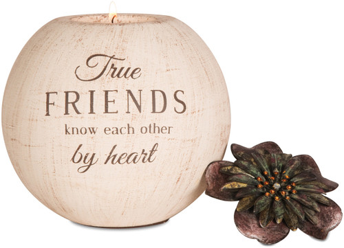 """5"""" Round Tea Light Holder. """"True Friends know each other by heart"""" Comes with one tea light candle."""