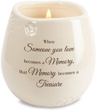 "Ceramic vessel holds 8 ounces of 100% soy wax candle. Tranquility Scent. Measures 2.5L x 2.5W x 3.5H x 2.5D ""When someone you love becomes a Memory, that Memory becomes a Treasure"""