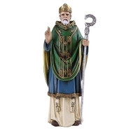 "Saint Patrick 4"" statue, Patron Saint of Ireland. Resin/Stone Mix. Dimensions: 4.125""H x 1.75""W x 1.125""D"