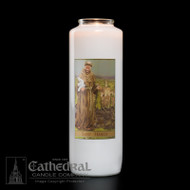 6-Day St. Francis 6 Day Bottle Light Candle. Non-reusable.  Candles can be purchased individually or as a case (12 candles)