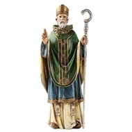 "6"" Saint Patrick Statue. St. Patrick Patron Saint of Ireland. St Patrick figure is made of a resin/stone mix. Dimensions of the St Patrick statue are: 6.5""H x 2.5""W x 1.75""D"