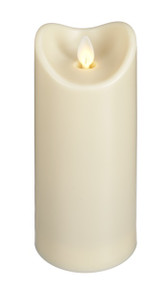 "8"" LED Water Resistant resin Pillar Candle. Measures 2 3/4D"" x 8H"" Built-in 5 hour timer and remote ready; Requies 2 C Batteries (sold separately); min. 500 hrs run time;"