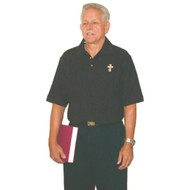 Deacon or Clergy Short Sleeve Polo Shirt-Short Sleeve 100% Combed Cotton Double Pique. Double needle top stitching. Designer selected twill tape neck. Finished reinforced placket ~ wood tone buttons. Side seam design & extended tail. *Gray shirts 90% cotton/10%  polyester.