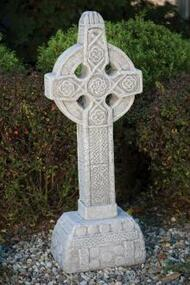"Garden statue of a detailed Celtic cross. This beautifully detailed Celtic garden statue can make a great addition to your outdoor space. This Celtic cross features a detailed pedestal and intricate patterns. Allow 4-6 weeks for delivery. Details: Dimensions: 43.5""H x 14""BW x 11""BL 152 lbs"