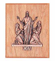 "The 15th Station of the Cross in Statuary Bronze or 24K Gold plated. Mounted on 8"" x 10"" Oak or Walnut finish plaque."