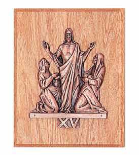 """The 15th Station of the Cross in Statuary Bronze or 24K Gold plated. Mounted on 8"""" x 10"""" Oak or Walnut finish plaque."""
