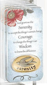 "True faith, serenity token/coin. On the back of pocket token are the words ""courage, faith and hope."""