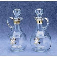 "Glass Cruets with Gold Chi Rho Design, 10 oz. Capacity, 6.5""  Height"