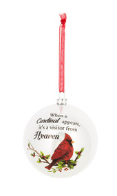 "Plastic 3"" Ornament with Cardinal - ""When a Cardinal appears, it's a visitor from Heaven."" Each pc with a 1 pc printed enclosure card. Each ornament comes with a 3"" red organza loop for easy hanging."