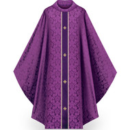 "Chasuble made of Duomo, a damask fabric of 100% man-made fibers. Adorned with velvet orphrey panels with embroidered gold crosses on the front and back. Gold braids border each velvet panel. Gothic Cut with 4"" roll collar neck finish.  Standard size is 53"" length x 63"" width. Comes with inside stole. This item is imported from Europe. Please supply your Institution's Federal ID # as to avoid an import tax. Please allow 3-4 weeks for delivery if item is not in stock.  Please call 1 800 523 7604 to inquire."