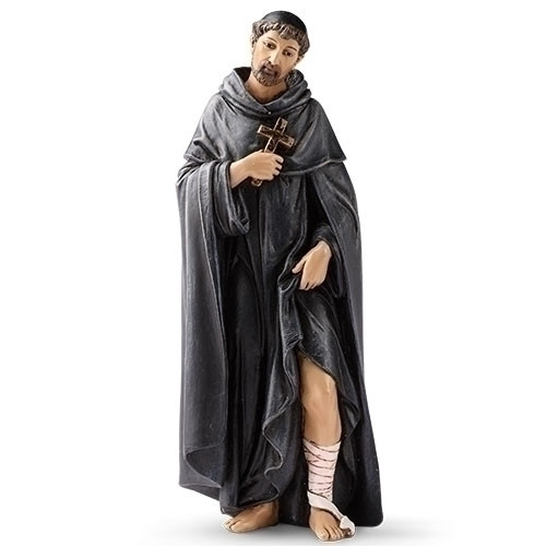 """Saint Peregrine Statue. Patron Saint of AIDS and Cancer. Resin/Stone Mix. Dimensions: 6.25""""H x 2.5""""W x 2""""D"""