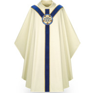 "Marian Chasuble made of white Cantate, a fabric of 99% wool and 1% gold luxe threads. Stiff Roll Collar ""4"" neck finish, and is a Gothic Cut. St. Andrew's Cross orphrey in blue velvet with hand embroidered Ave Maria medallion on front and back. Comes with an Inside Stole.  Standard size is 53"" length x 59"" width. Shown here in white. Other collar choices, colors and matching ecclesiastical garments are available."