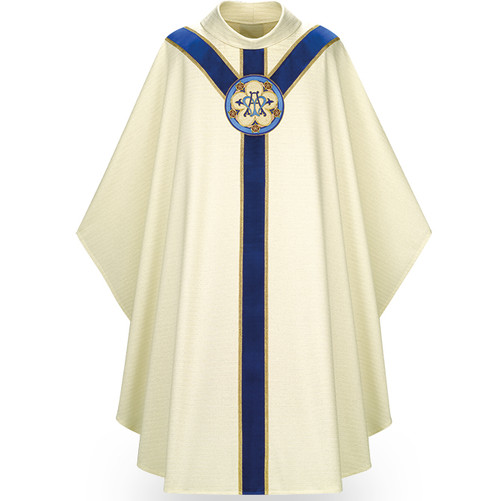 """Marian Chasuble made of white Cantate, a fabric of 99% wool and 1% gold luxe threads. Stiff Roll Collar """"4"""" neck finish, and is a Gothic Cut. St. Andrew's Cross orphrey in blue velvet with hand embroidered Ave Maria medallion on front and back. Comes with an Inside Stole.  Standard size is 53"""" length x 59"""" width. Shown here in white. Other collar choices, colors and matching ecclesiastical garments are available."""
