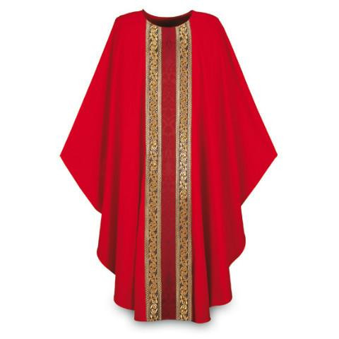 """Chasuble is made of lightweight Brugia 100% wool. Banding  in Goya, damask fabric. Measurements are 59"""" Width  X 53"""" Length, with inside stole. Combination of brocade application and orphreys.  These items are imported from Europe. Please supply your Institution's Federal ID # as to avoid an import tax.  Please allow 3-4 weeks for delivery if item is not in stock."""