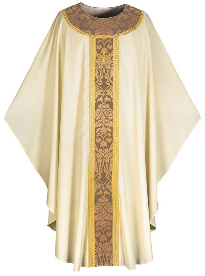 In Brugia, soft and light fabric of 100% wool. Banding and decoration around neck in damask fabric, bordered with gold braid; Adorned with hand embroidered cross. Unlined, Plain 'O' neck. Comes in Purple, White, Green, Beige & Red. These items are imported from Europe. Please supply your Institution's Federal ID # as to avoid an import tax.  Please allow 3-4 weeks for delivery if item is not in stock.