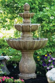 "54"" Mirabella Scallop Fountain (shown here in Classic Iron) Comes with everything you need including the Pump Kit with instructions (Kit P22502 includes: 1 - KING 225 (225 gallon per hour pump) 1 - 1/2"" plastic tee 1 - rubber stopper 1 - 1/2"" plastic ell 1 – hose clamp 1 - 36"" long piece of 1/2"" clear tubing.) Comes in Pearl White, Natural, Old Stone or Classic Iron"