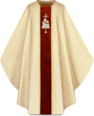 Chasuble, in Duomo, 100% man-made fibres. Chasuble Motifs are hand embroidered on velvet band. Choices are: Lamb of God(front)/IHS(back), Holy Spirit(front)/Flames(back), Pelican(front)/Alpha Omega(back), Chalice(front)/Chiro(Back).  Please supply your Intitution's Federal ID # as to avoid an import tax. Please allow 3-4 weeks for delivery if item is not in stock as it is shipped from overseas.