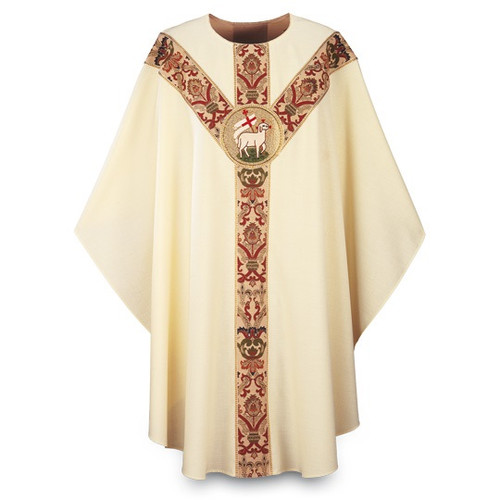 """Chasuble made of beige Dupion, a knotted yarn dyed fabric of 70% man-made fibers and 30% viscose  adorned with a beautiful hand embroidered Agnus Dei emblem on a St. Andrew's Cross orphrey in Regina, a multicolored brocade on front and back. Plain """"0"""" neck finish. Gothic Cut. Standard length is 53""""."""
