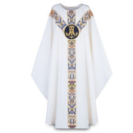 "Chasuble made of white Dupion, a knotted yarn dyed fabric of 70% man-made fibers and 30% viscose of 70% man-made fibers and 30% viscose, adorned with a beautiful hand embroidered Marian emblem on a St. Andrew's Cross orphrey in blue Regina, a multicolored brocade on front and back. Plain ""0"" neck finish. Gothic Cut. Standard length is 53""."